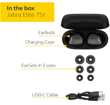 Accessories included with Jabra 75t buds