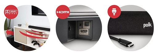 Polk Audio Signa S2 Ultra-Slim TV Sound Bar connections