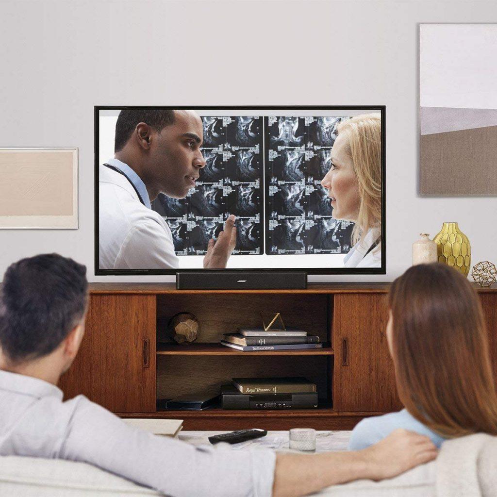 Bose solo 5 tv soundbar sound system sleek slim design bluetooth connectivity black renewed 2