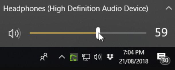 Adjusting the volume from the taskbar