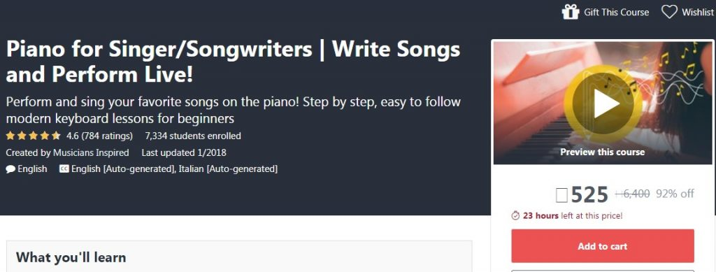 Piano for Singer/Songwriters | Write Songs and Perform Live